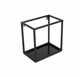 Półka wisząca ścienna metal czarna 24 cm