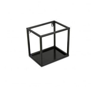 Półka wisząca ścienna metal czarna 20 cm